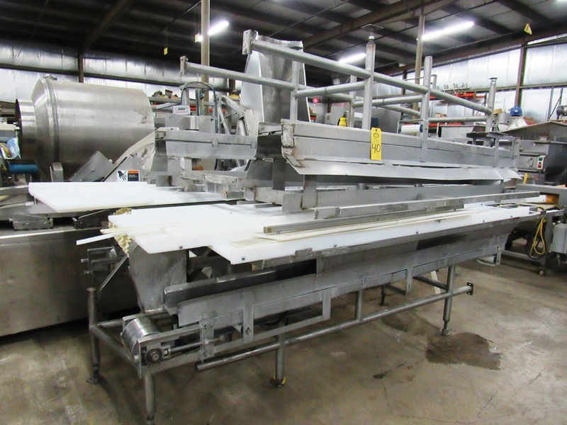 "Lot 40 - Stainless Steel Boning Conveyor, 78"" W X 25' L X 40"" T,; 24"" wide center belt, 24"" W poly work"