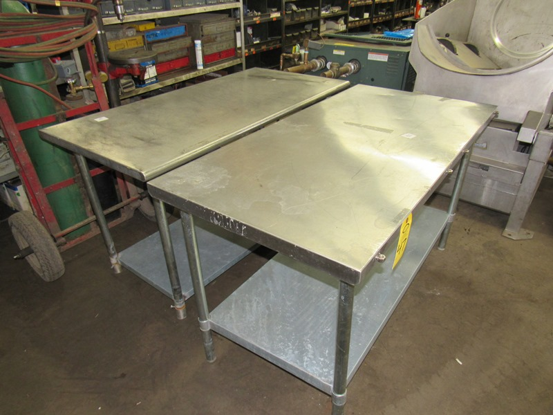 """Lot 47 - Stainless Steel Tables, 30"""" W X 5' L X 34"""" T with bottom shelf;*** All Funds Must Be Received By"""