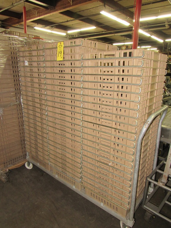"""Lot 19 - Koch Beige Meat Lugs, 18 1/2"""" W X 22"""" L X 6"""" D, w/aluminum cart;*** All Funds Must Be Received By"""