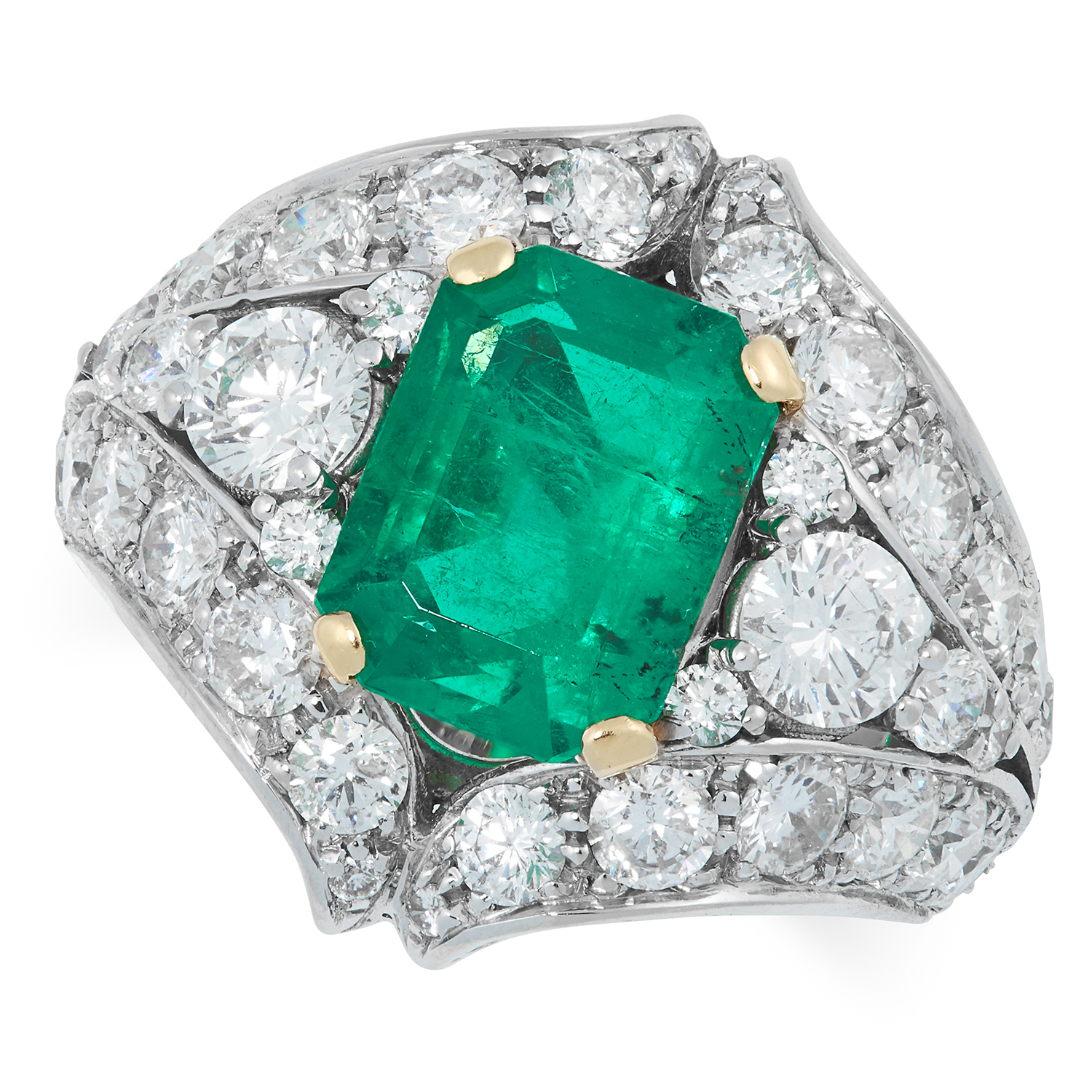 A COLOMBIAN EMERALD AND DIAMOND DRESS RING set with an emerald cut emerald of 4.20 carats, the mount