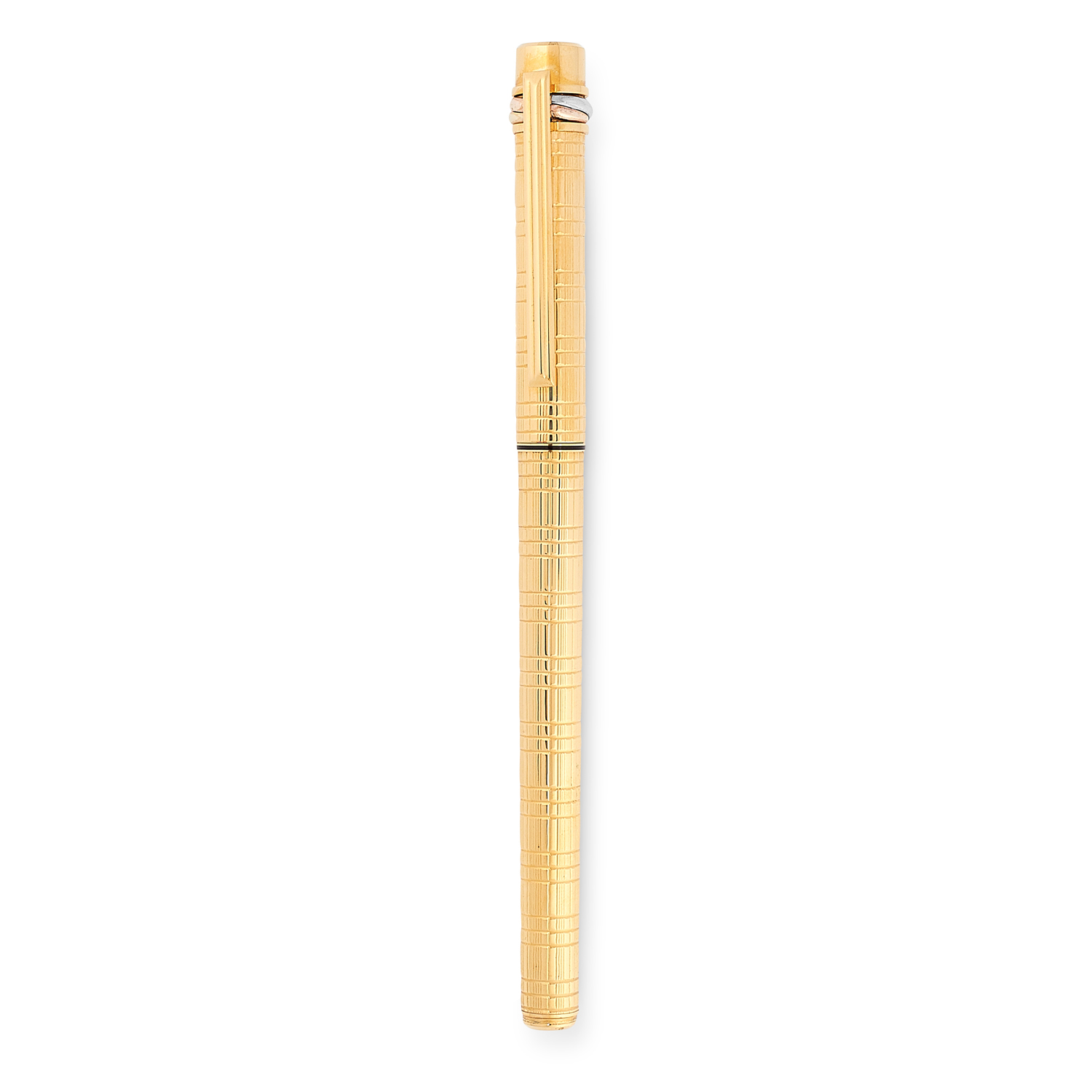 A TRINITY FOUNTAIN PEN, CARTIER in gold plate, in textured gold design, signed Cartier, 13.5cm / 5.