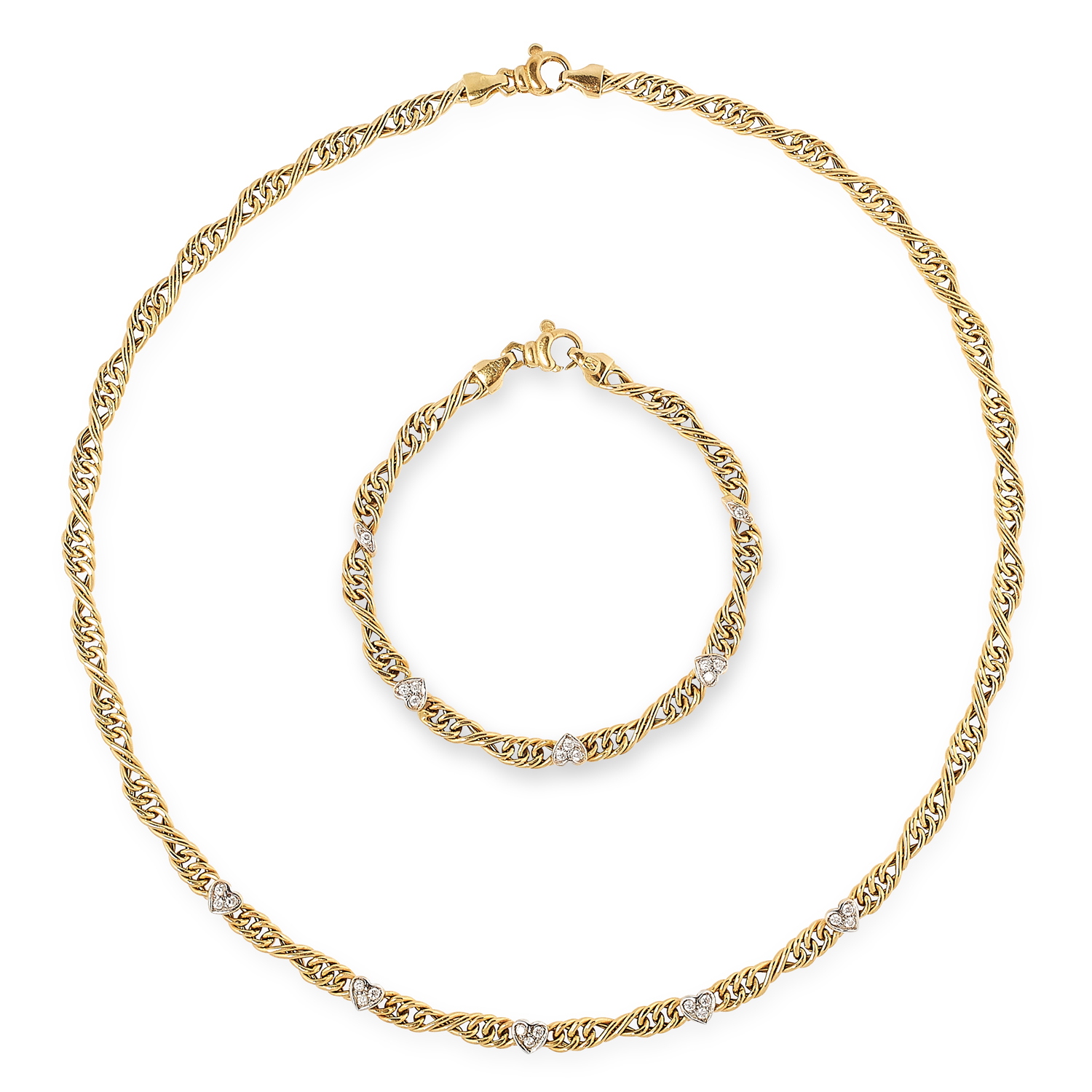 A DIAMOND FANCY LINK NECKLACE AND BRACELET SET in yellow gold, comprising of fancy links, set with