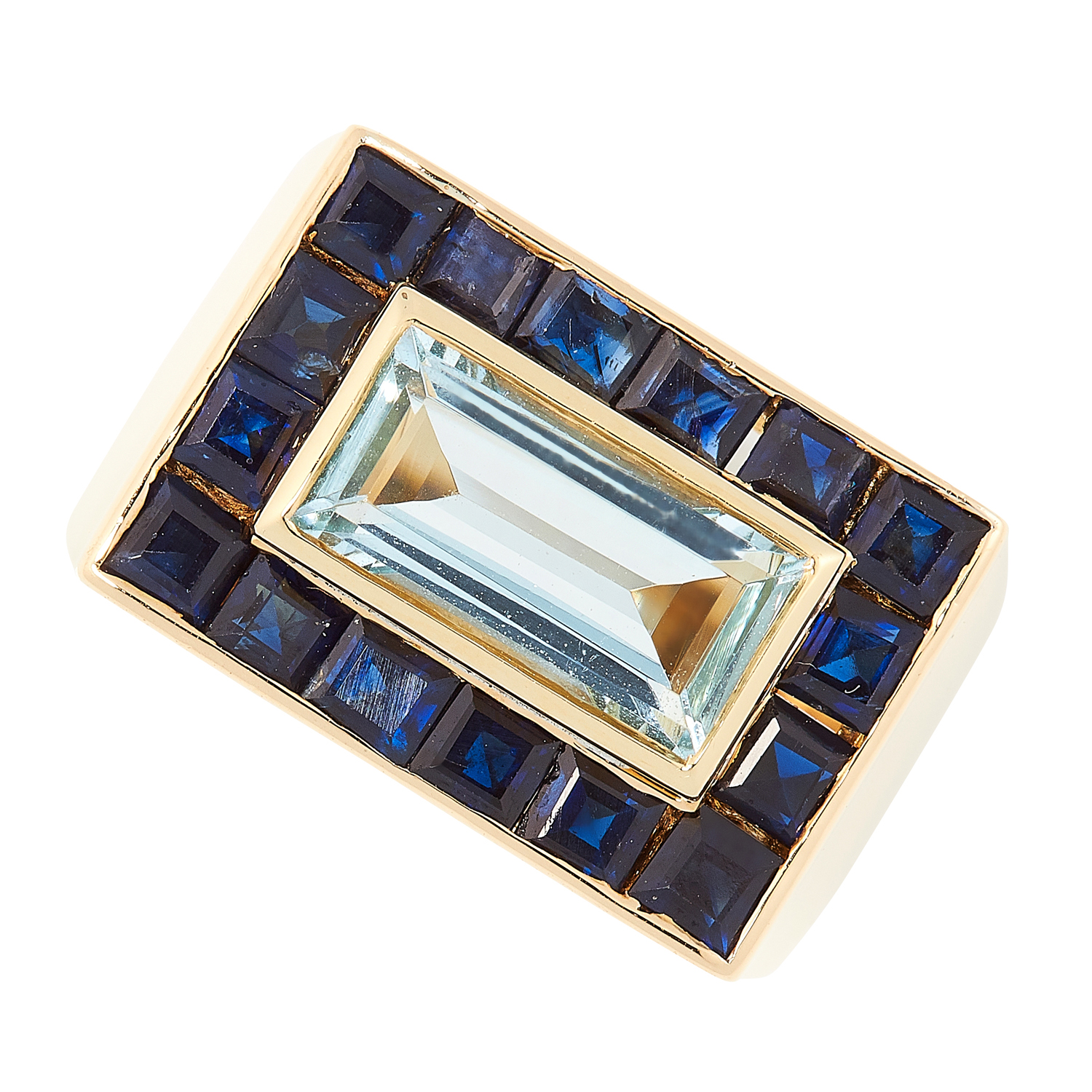 A SAPPHIRE AND BLUE TOPAZ DRESS RING, MURUNI set with a central step cut blue topaz in a border of