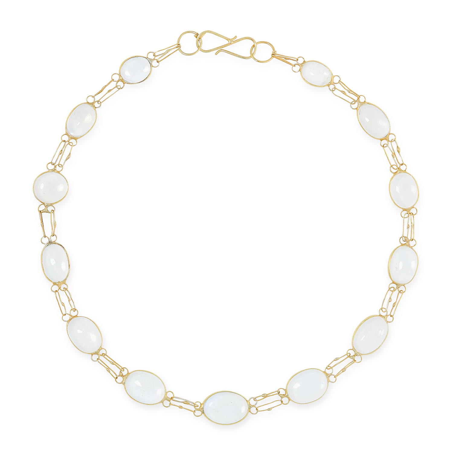 A MOONSTONE NECKLACE AND BRACELET SUITE each set with cabochon moonstones, tests as yellow gold, - Image 3 of 3