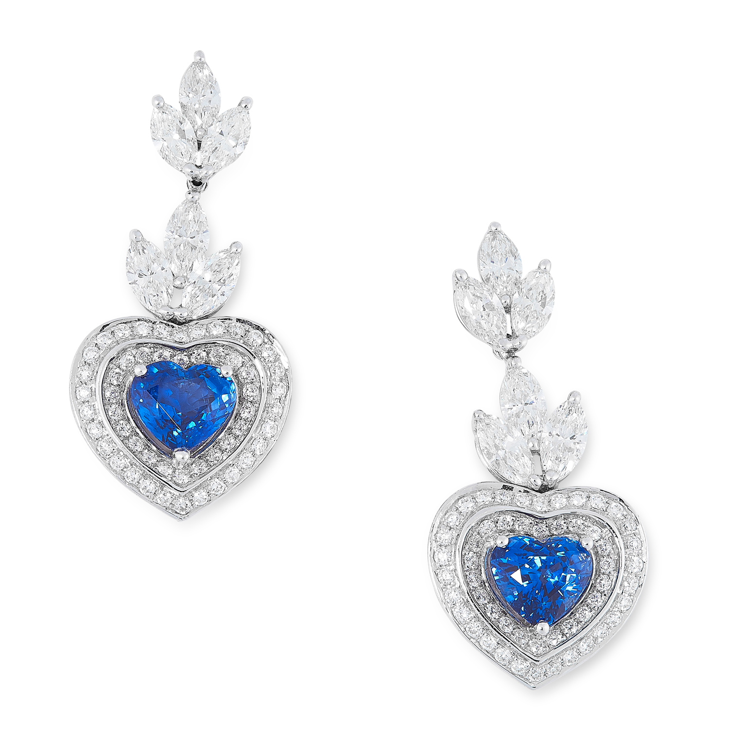A PAIR OF SAPPHIRE AND DIAMOND DROP EARRINGS each set with a row of marquise cut diamonds suspending
