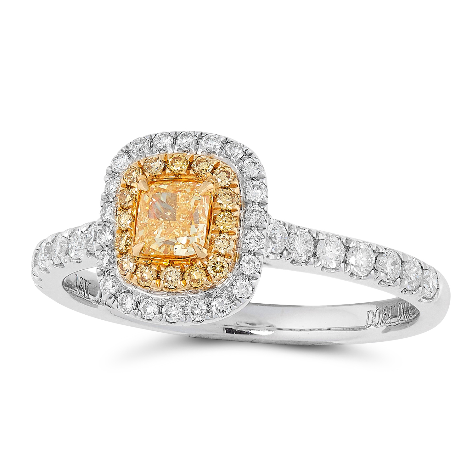 A FANCY YELLOW DIAMOND CLUSTER RING set with a fancy yellow cushion cut diamond of 0.34 carats in
