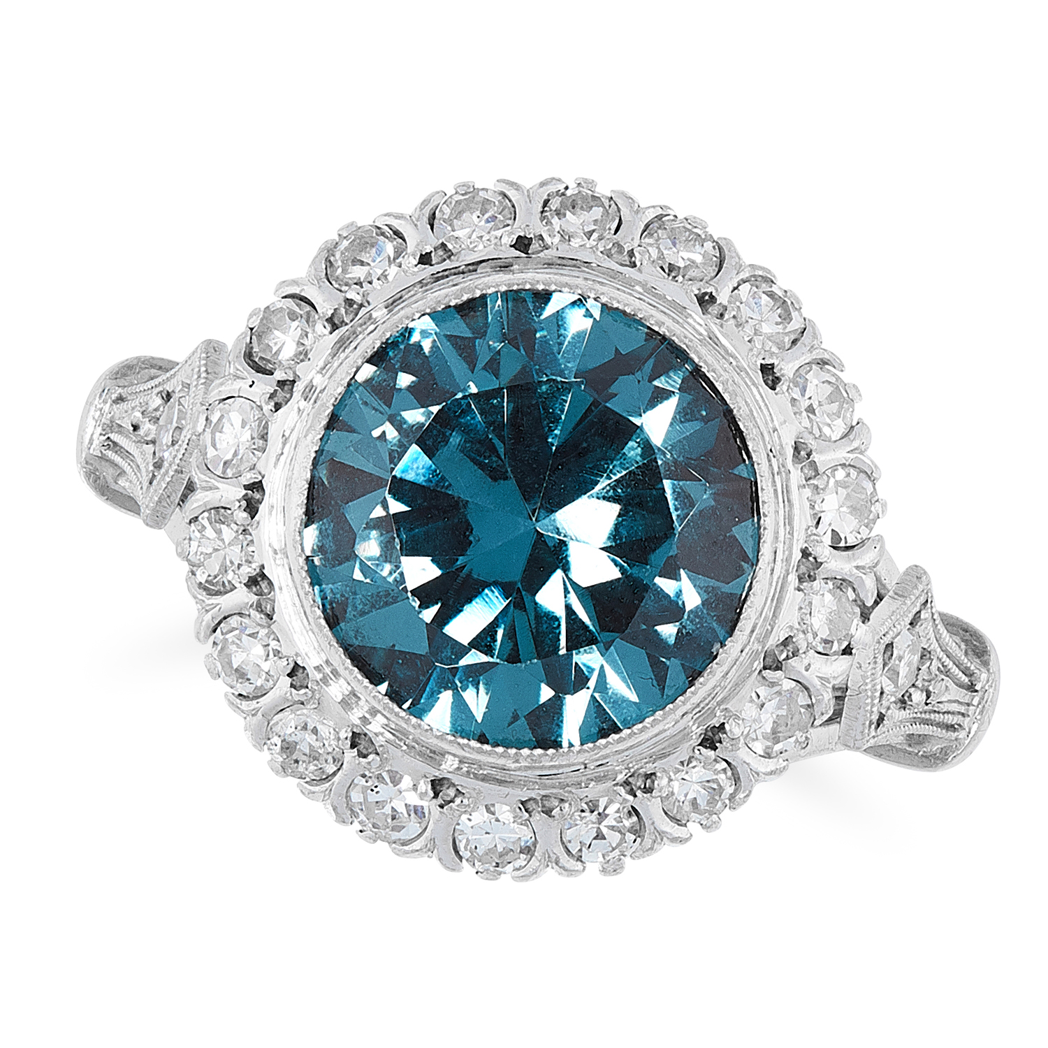 AN ANTIQUE ZIRCON AND DIAMOND RING, CIRCA 1930 in platinum, set with a central round cut blue zircon