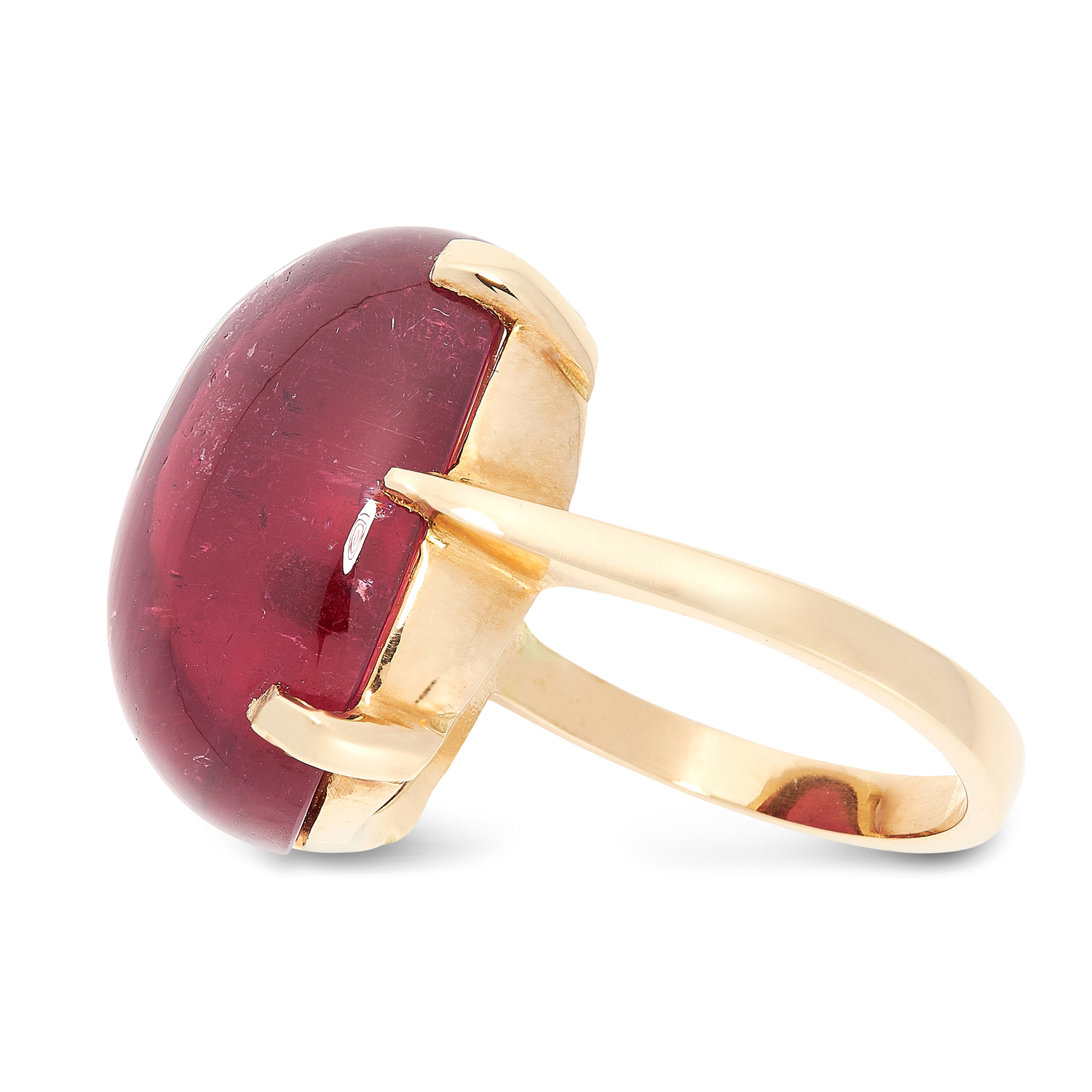 A PINK TOURMALINE DRESS RING in 18ct yellow gold, set with an oval cabochon pink tourmaline of 27.80 - Image 2 of 2