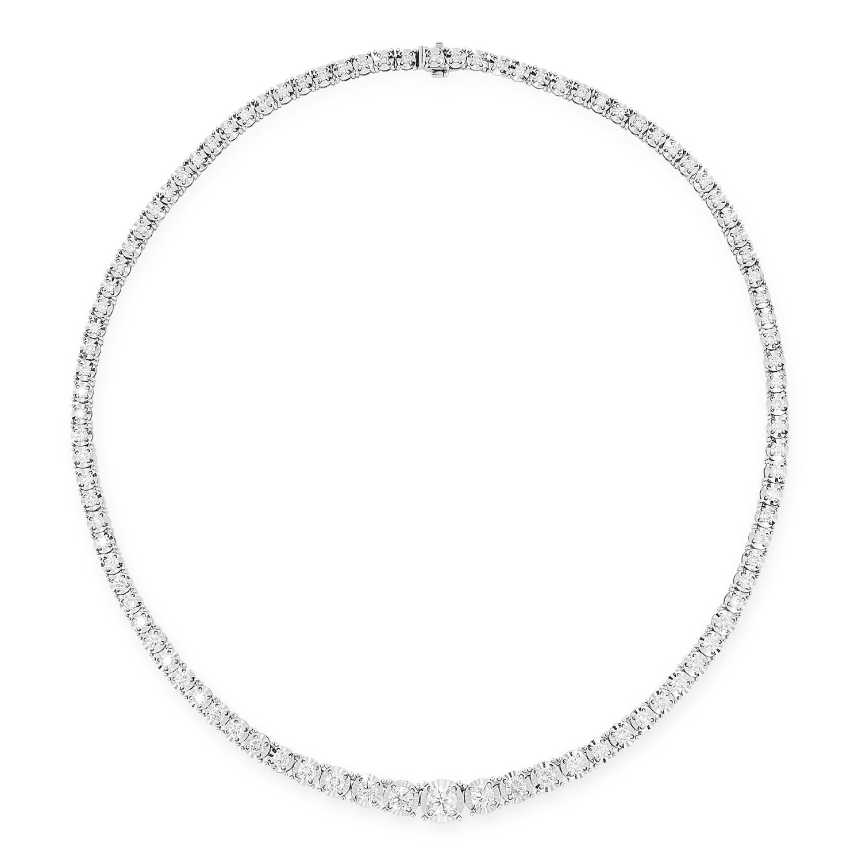 A 6.55 CARAT DIAMOND LINE NECKLACE comprising a single row of graduated round cut diamonds totalling