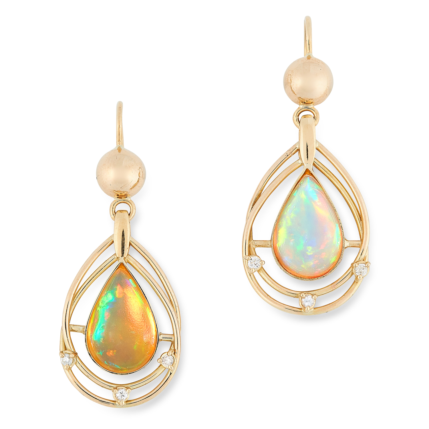 A PAIR OF OPAL AND DIAMOND EARRINGS each set with a pear shaped cabochon cut opal totalling 5.5-6.