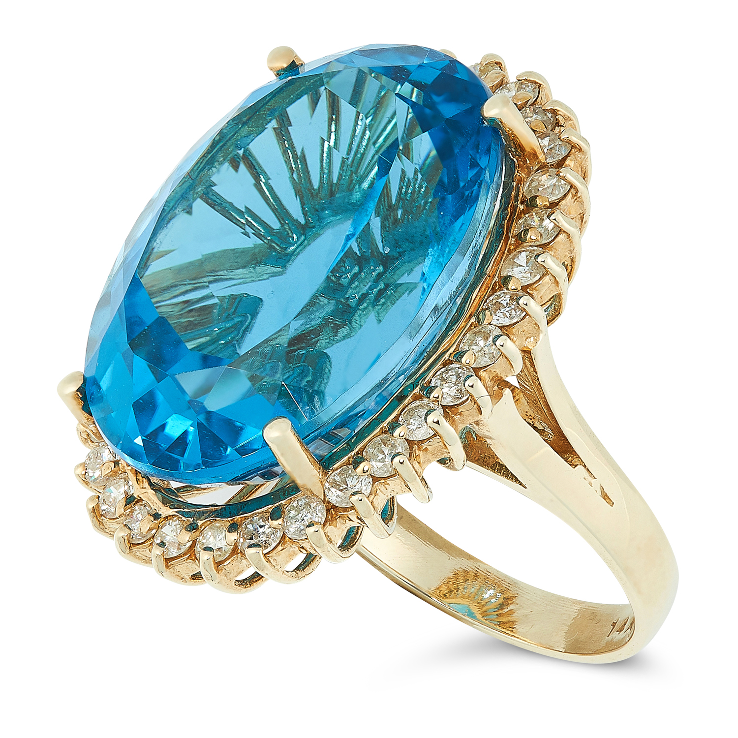 A TOPAZ AND DIAMOND CLUSTER RING set with an oval cut topaz of 27.8 carats, in a border of round cut - Image 2 of 2