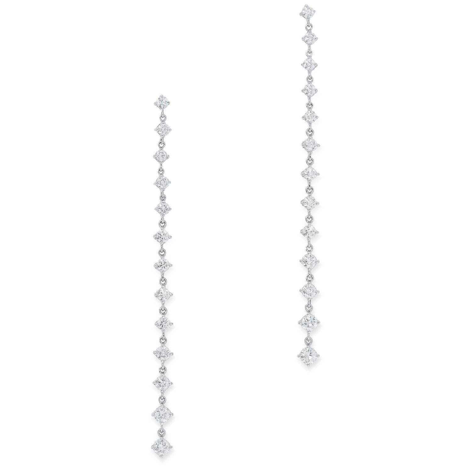 A PAIR OF DIAMOND DROP EARRINGS each designed as a single row of thirteen graduated round cut