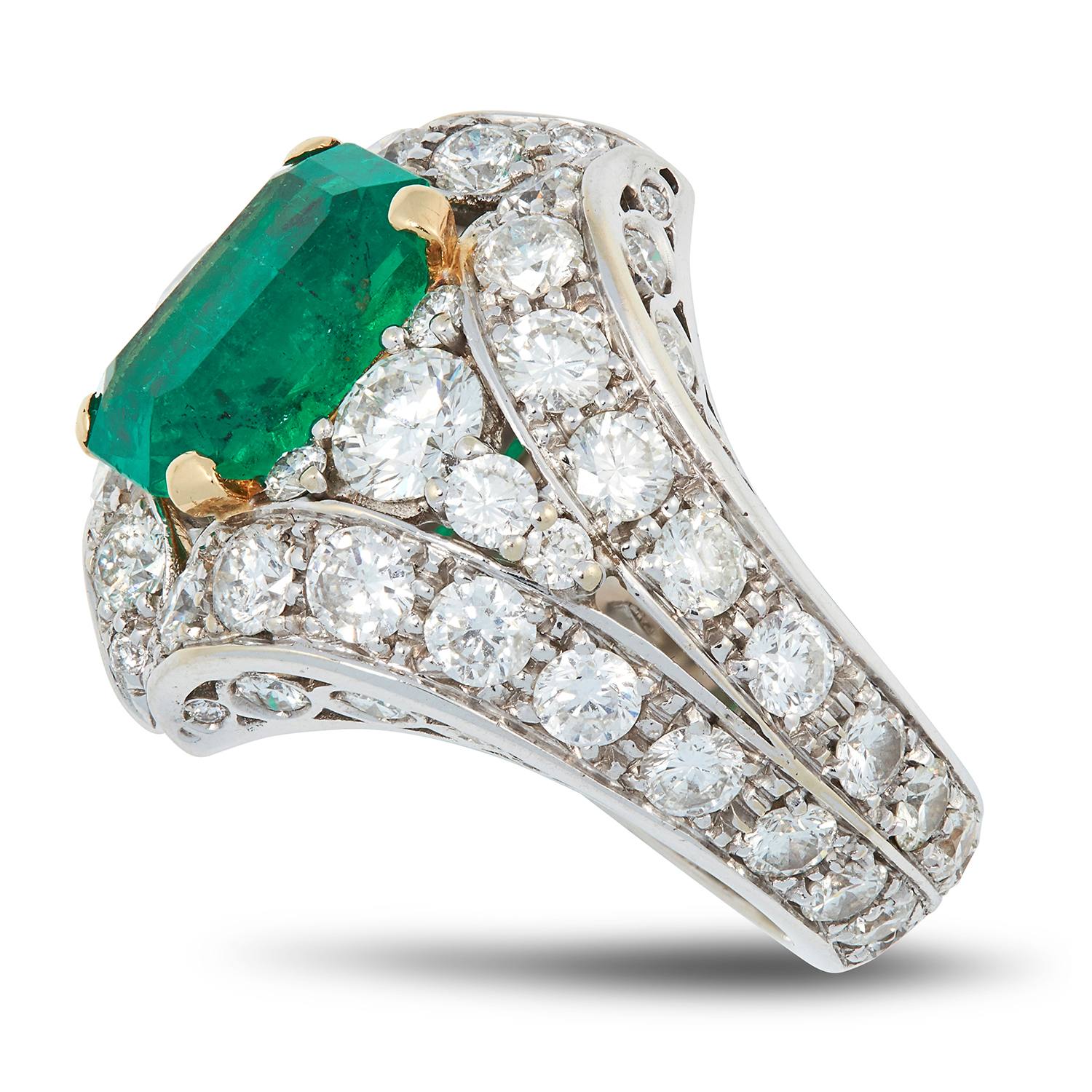 A COLOMBIAN EMERALD AND DIAMOND DRESS RING set with an emerald cut emerald of 4.20 carats, the mount - Image 2 of 2