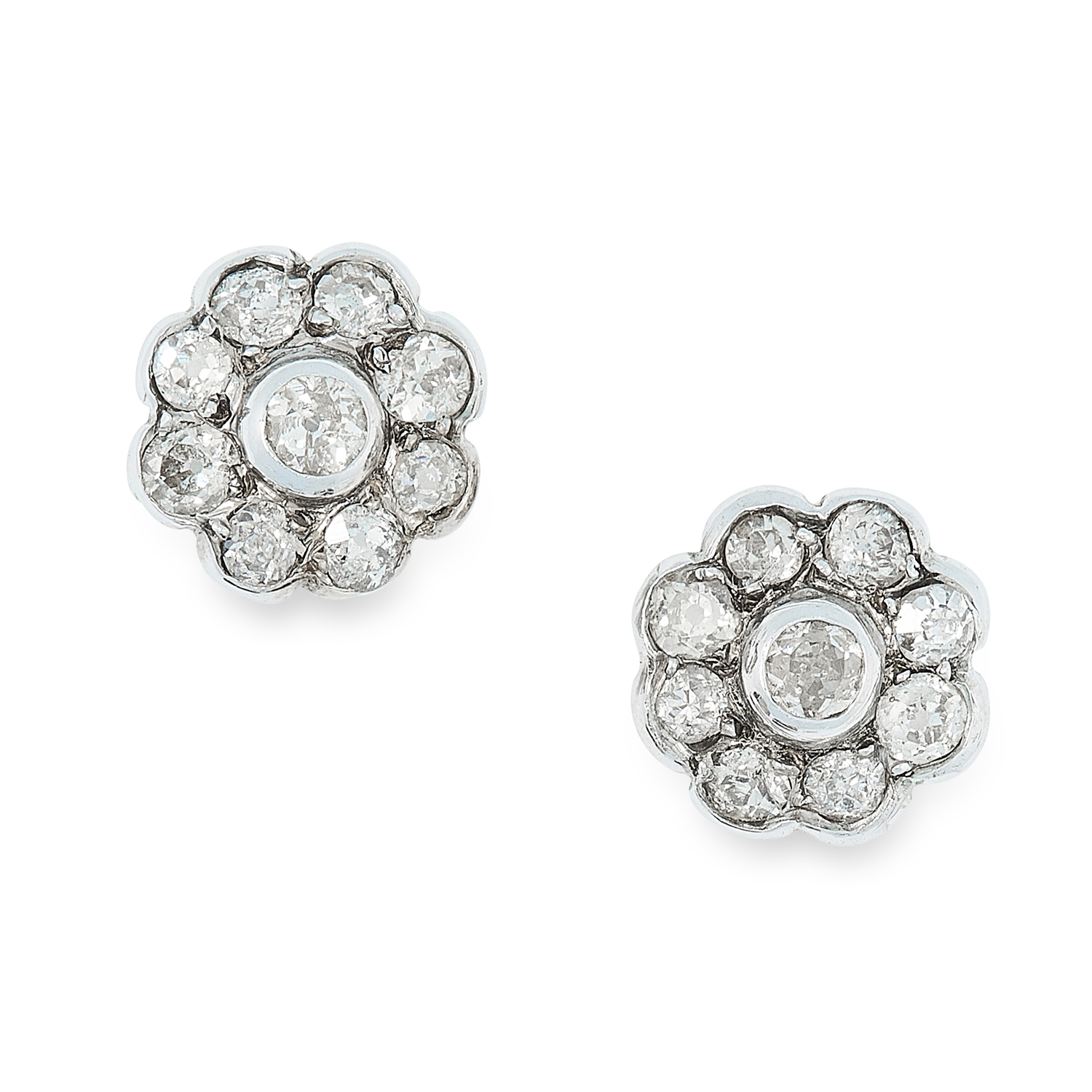 A PAIR OF ANTIQUE DIAMOND CLUSTER EARRINGS in white gold, set with clusters of old round cut