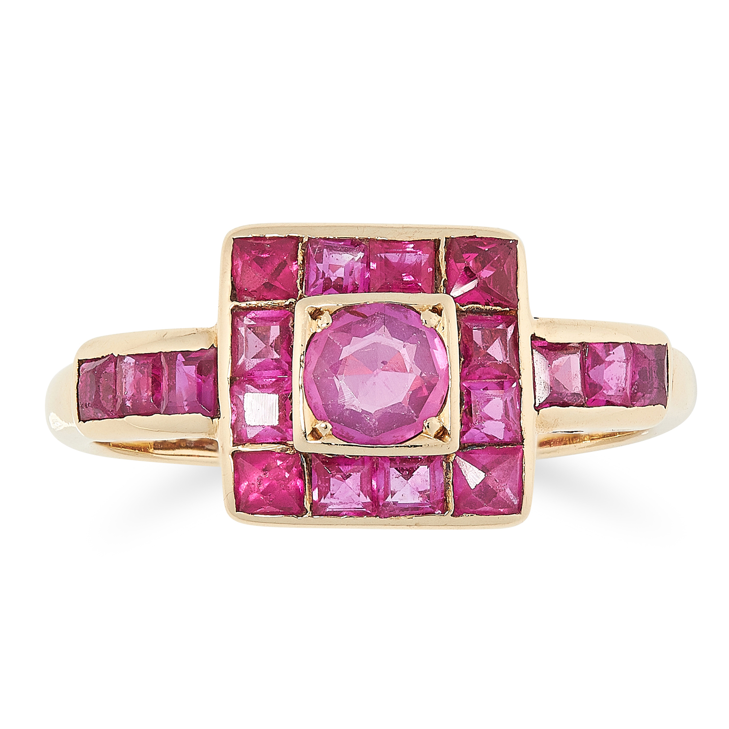 A RUBY CLUSTER DRESS RING, CIRCA 1950 in 18ct yellow gold, set with a central round cut ruby