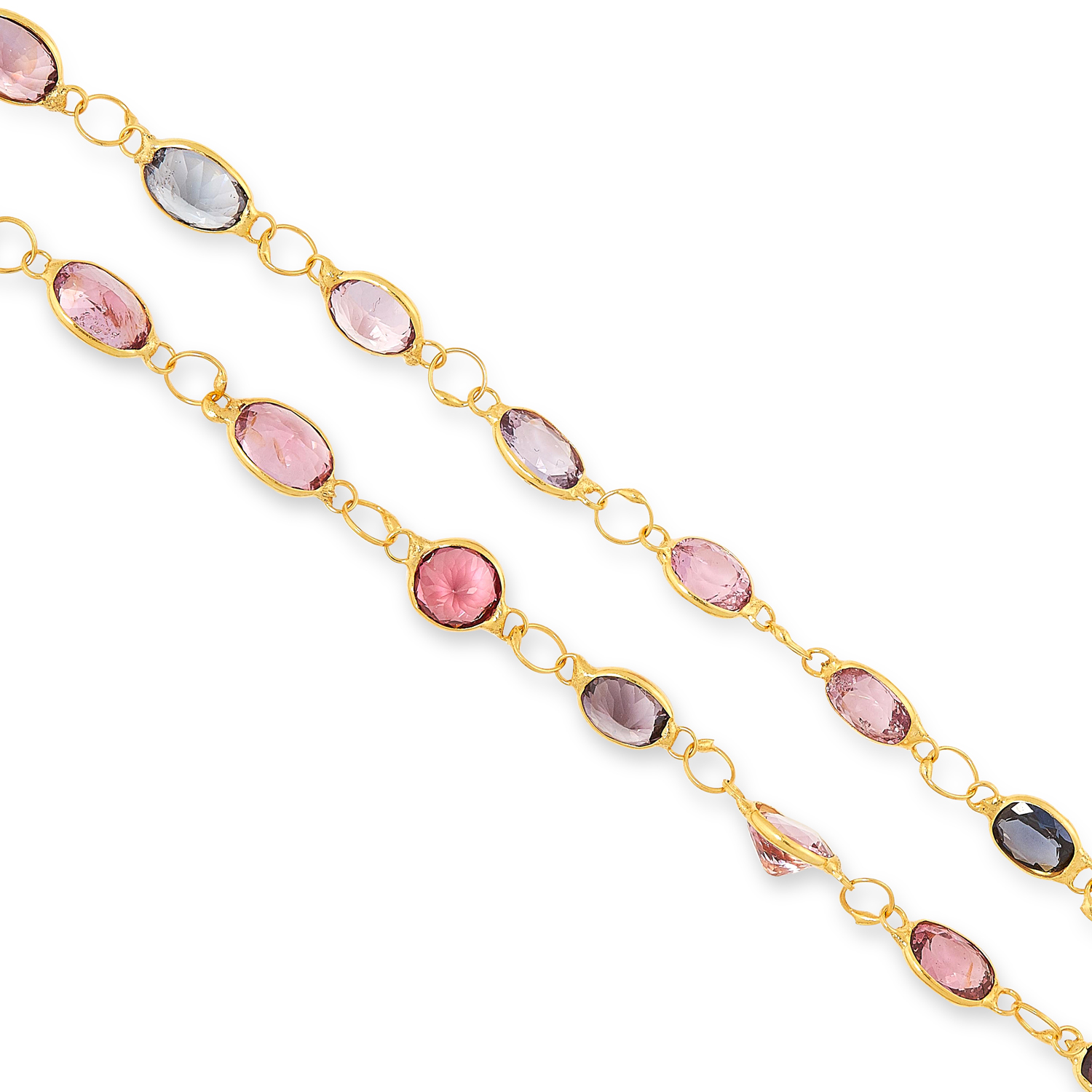 A MULTICOLOURED SPINEL NECKLACE comprising a single row of links, set with oval and round cut - Image 2 of 2