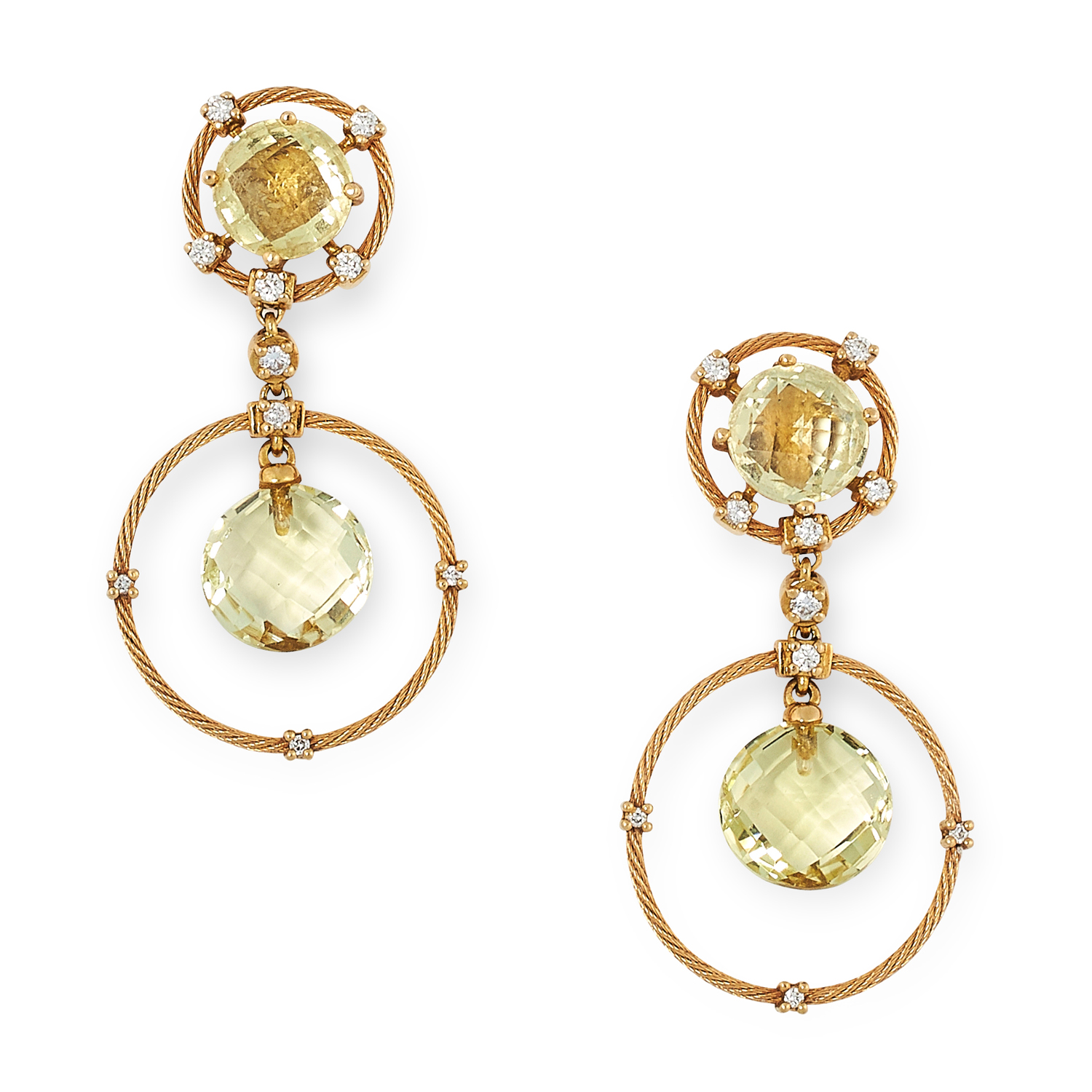 A PAIR OF CITRINE AND DIAMOND EARRINGS, MORELLI in 18ct yellow gold, each comprising of a faceted