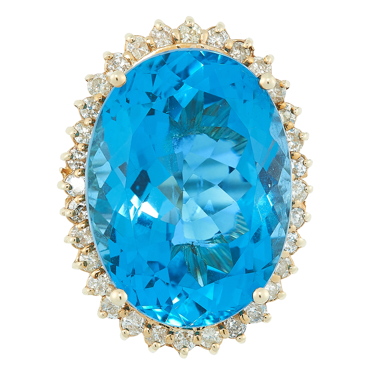 A TOPAZ AND DIAMOND CLUSTER RING set with an oval cut topaz of 27.8 carats, in a border of round cut