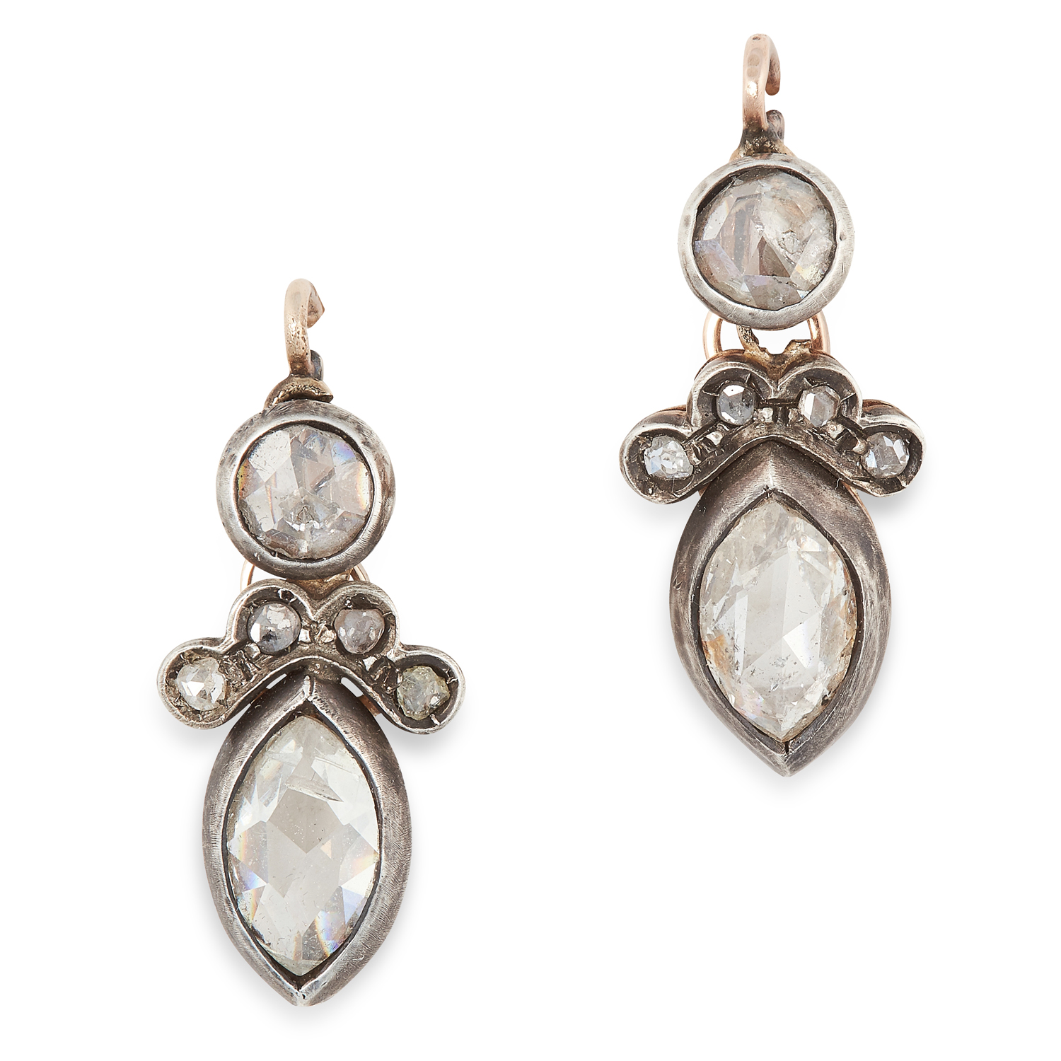 A PAIR OF ANTIQUE DIAMOND EARRINGS, 19TH CENTURY in yellow gold and silver, each set with a