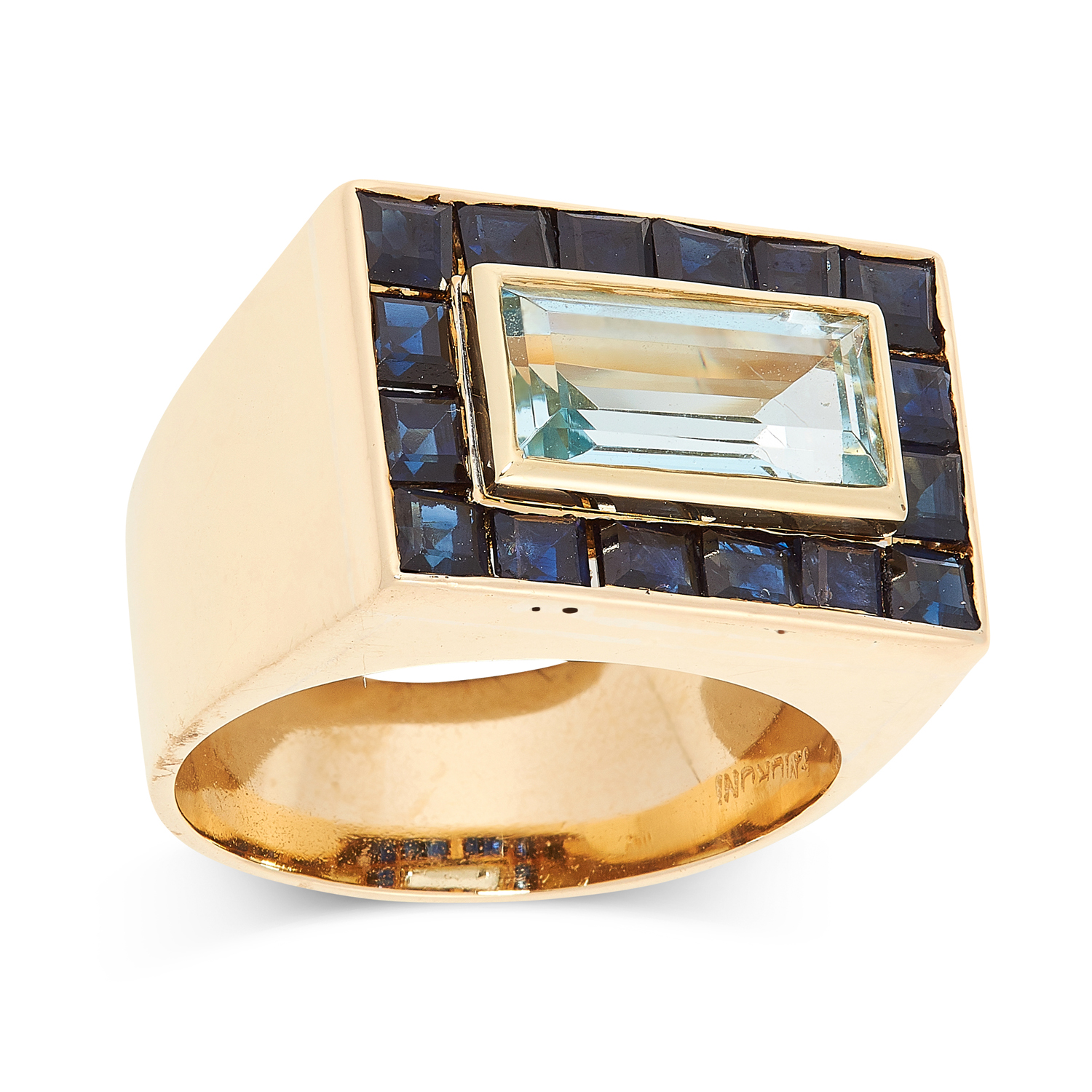 A SAPPHIRE AND BLUE TOPAZ DRESS RING, MURUNI set with a central step cut blue topaz in a border of - Image 2 of 2