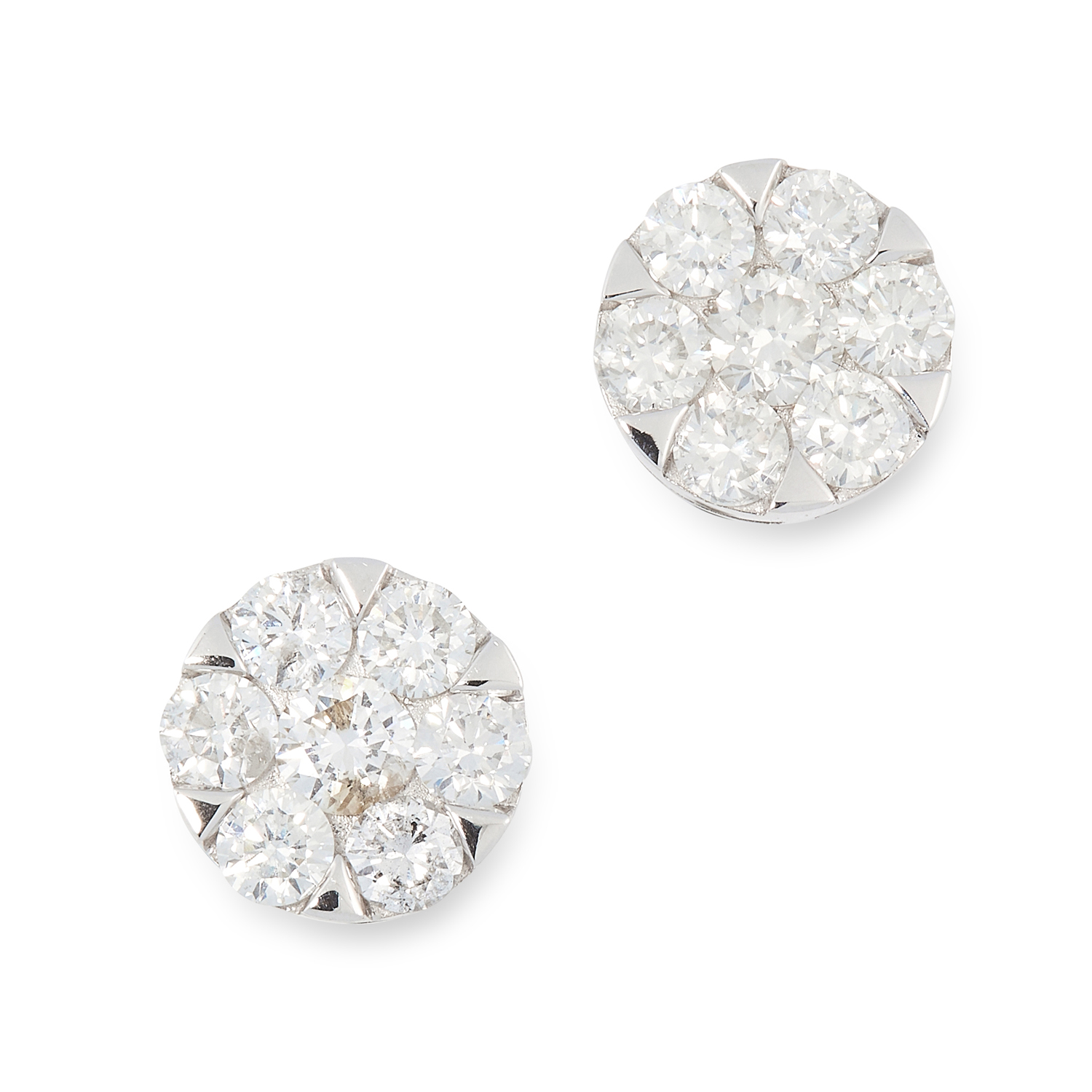 A PAIR OF DIAMOND CLUSTER STUD EARRINGS each of circular design, set with a cluster of round cut