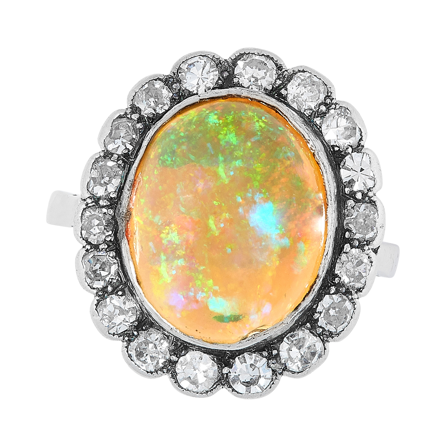 AN ANTIQUE ART DECO OPAL AND DIAMOND CLUSTER RING, EARLY 20TH CENTURY in platinum, set with an