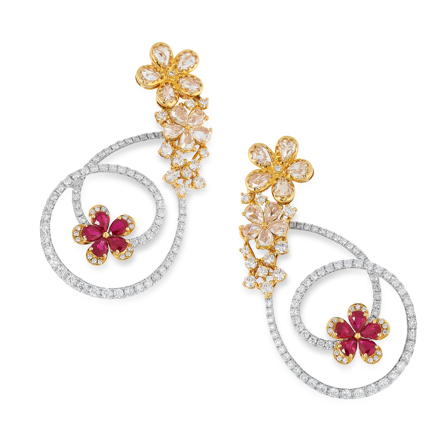 A PAIR OF DIAMOND AND RUBY EARRINGS in 18ct gold, in open floral design set with round and rose