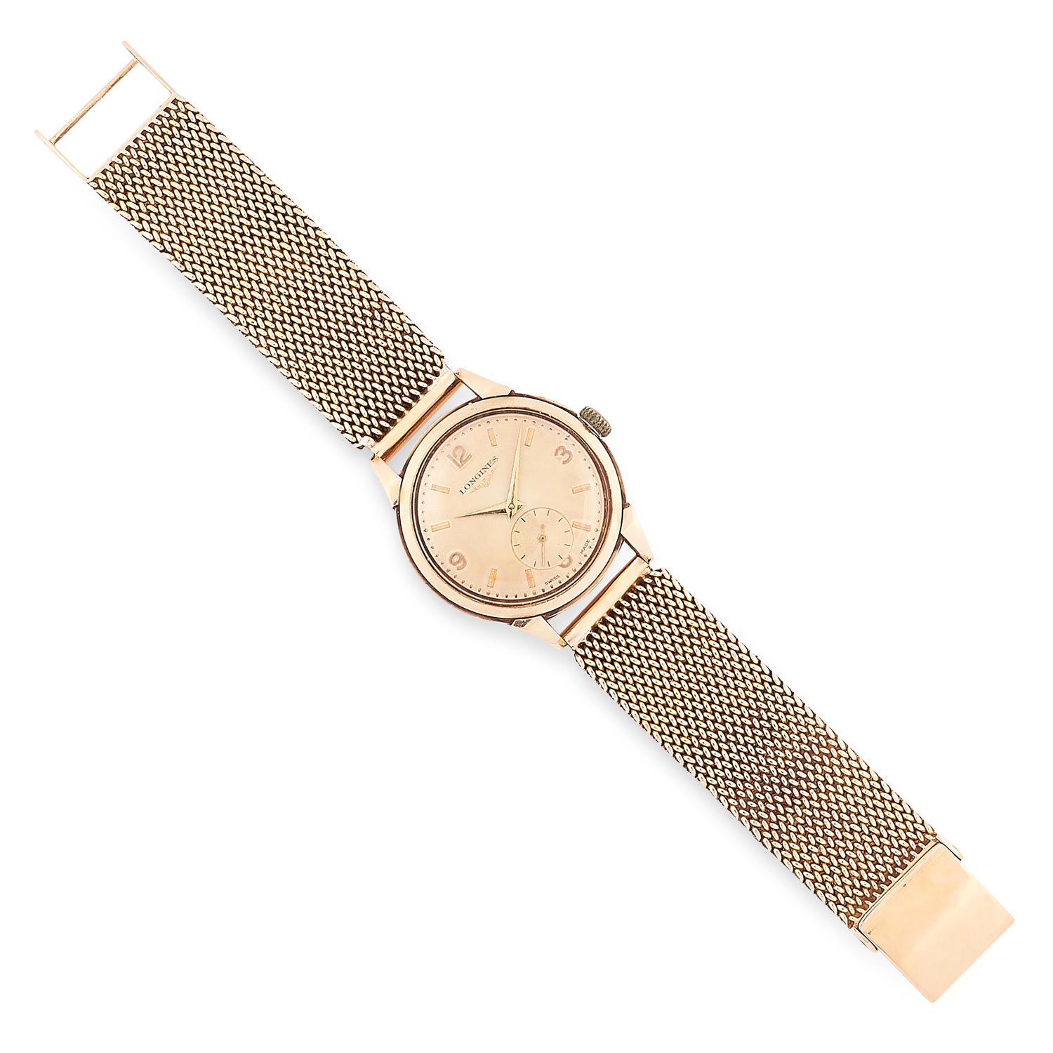 A GOLD GENTLEMAN'S WRISTWATCH, LONGINES the circular case of 33mm, gold dial with gold hands and