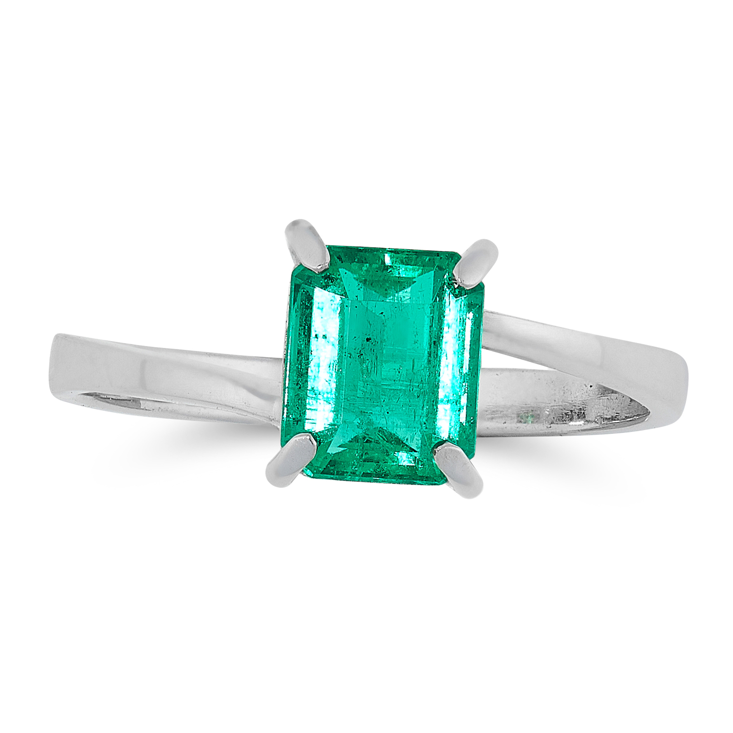 A COLOMBIAN EMERALD RING set with a single emerald cut emerald of 1.16 carats, within a twisted