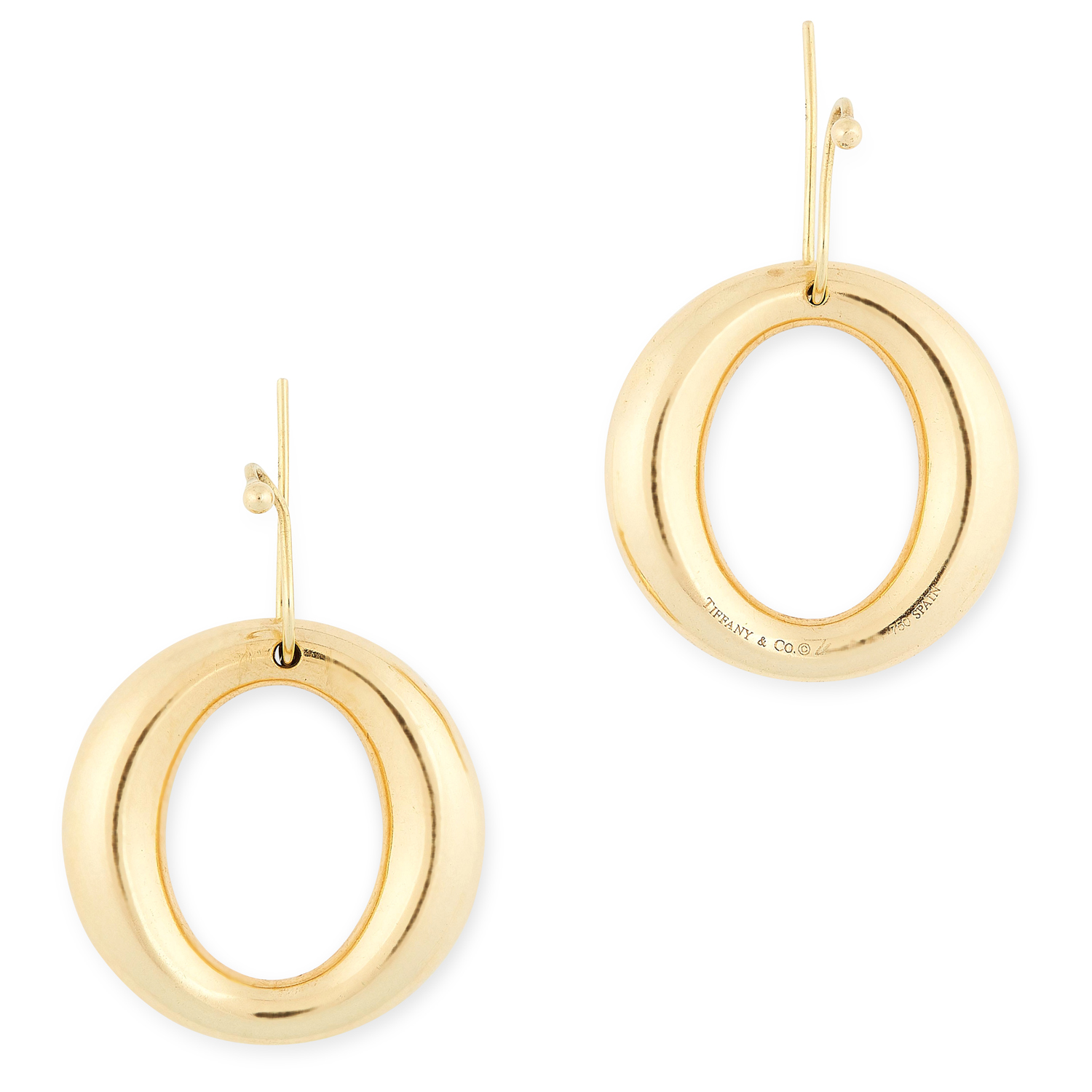 A PAIR OF SEVILLANA EARRINGS, ELSA PERETTI FOR TIFFANY & CO each designed as a graduated hoop