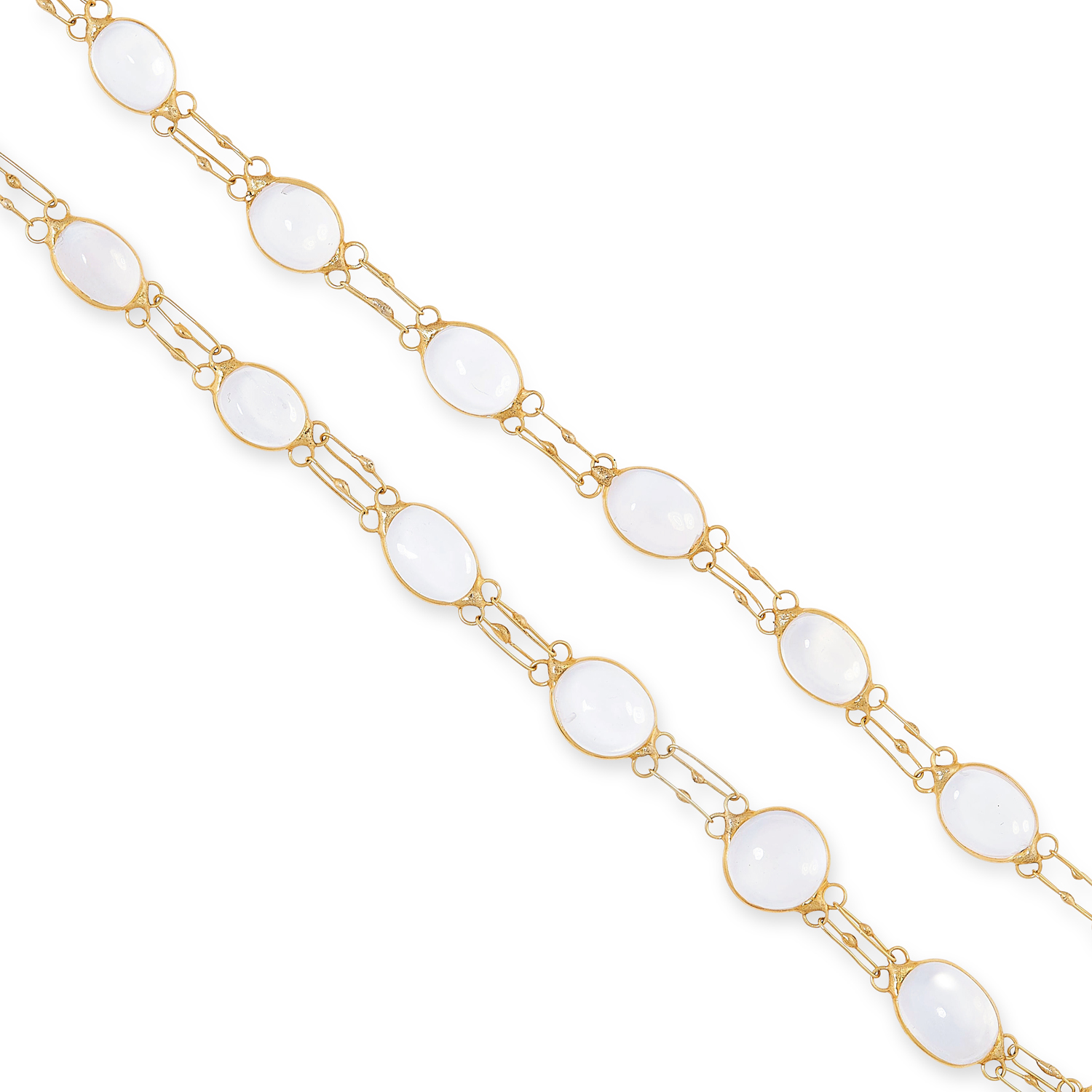 A MOONSTONE NECKLACE AND BRACELET SUITE each set with cabochon moonstones, tests as yellow gold, - Image 2 of 3