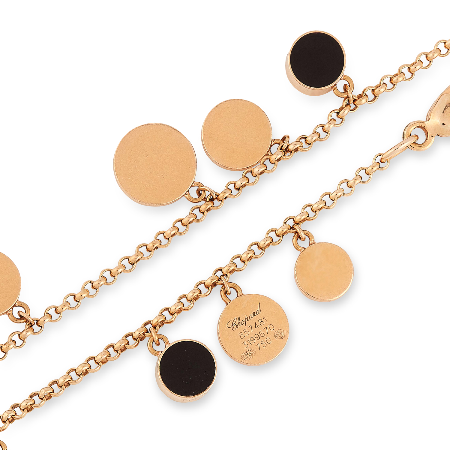 A HAPPY DIAMONDS BRACELET, CHOPARD suspending circular discs and charms set with round cut diamonds, - Image 2 of 2