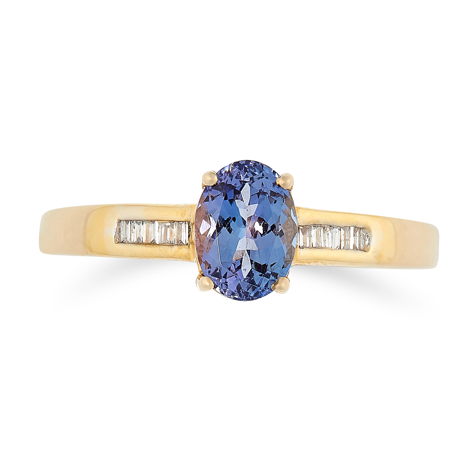A SET OF THREE GEMSET DRESS RINGS one is set with an oval cut tanzanite between a row of baguette