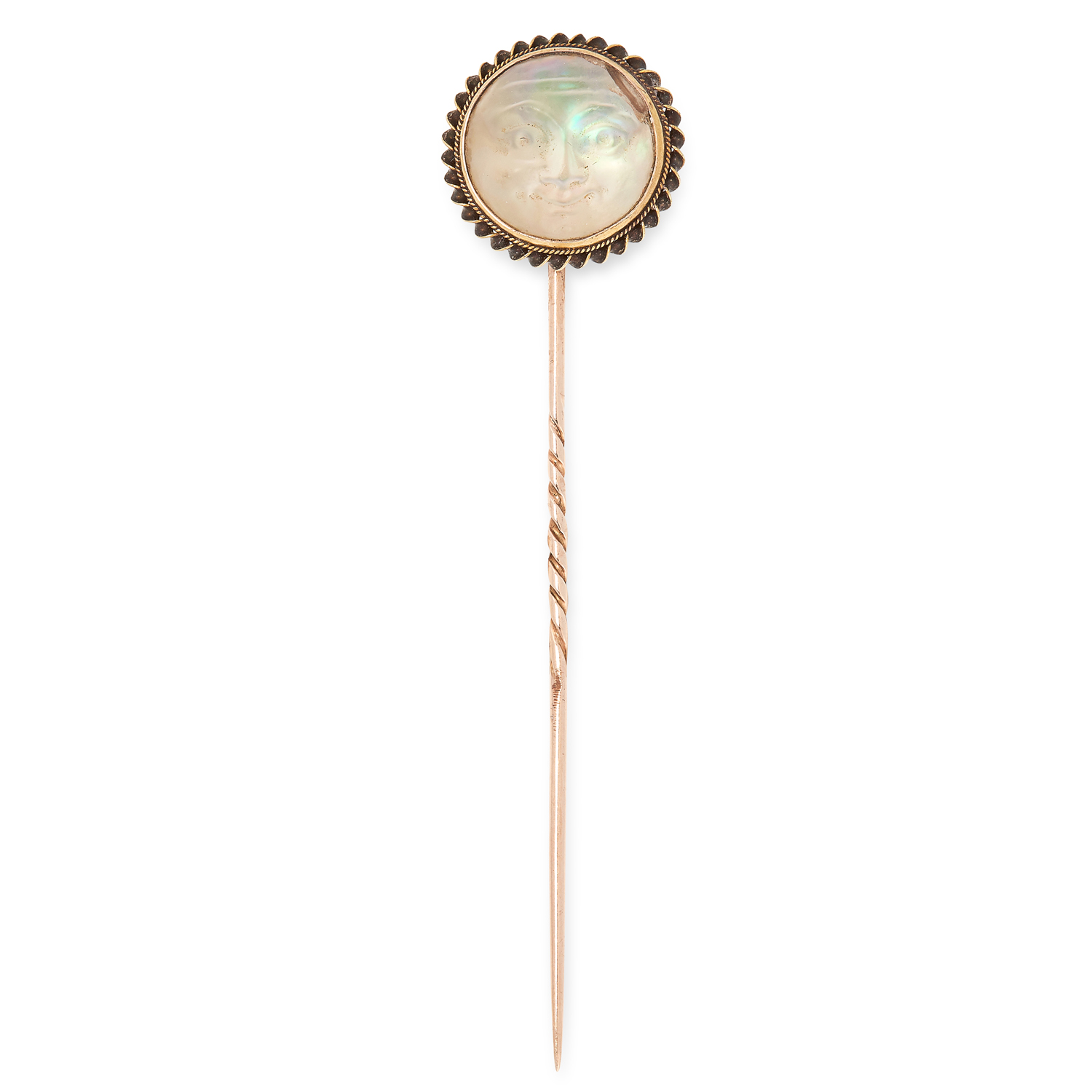 AN ANTIQUE MAN IN THE MOON RAINBOW MOONSTONE TIE PIN in yellow gold and gilt metal, set with a