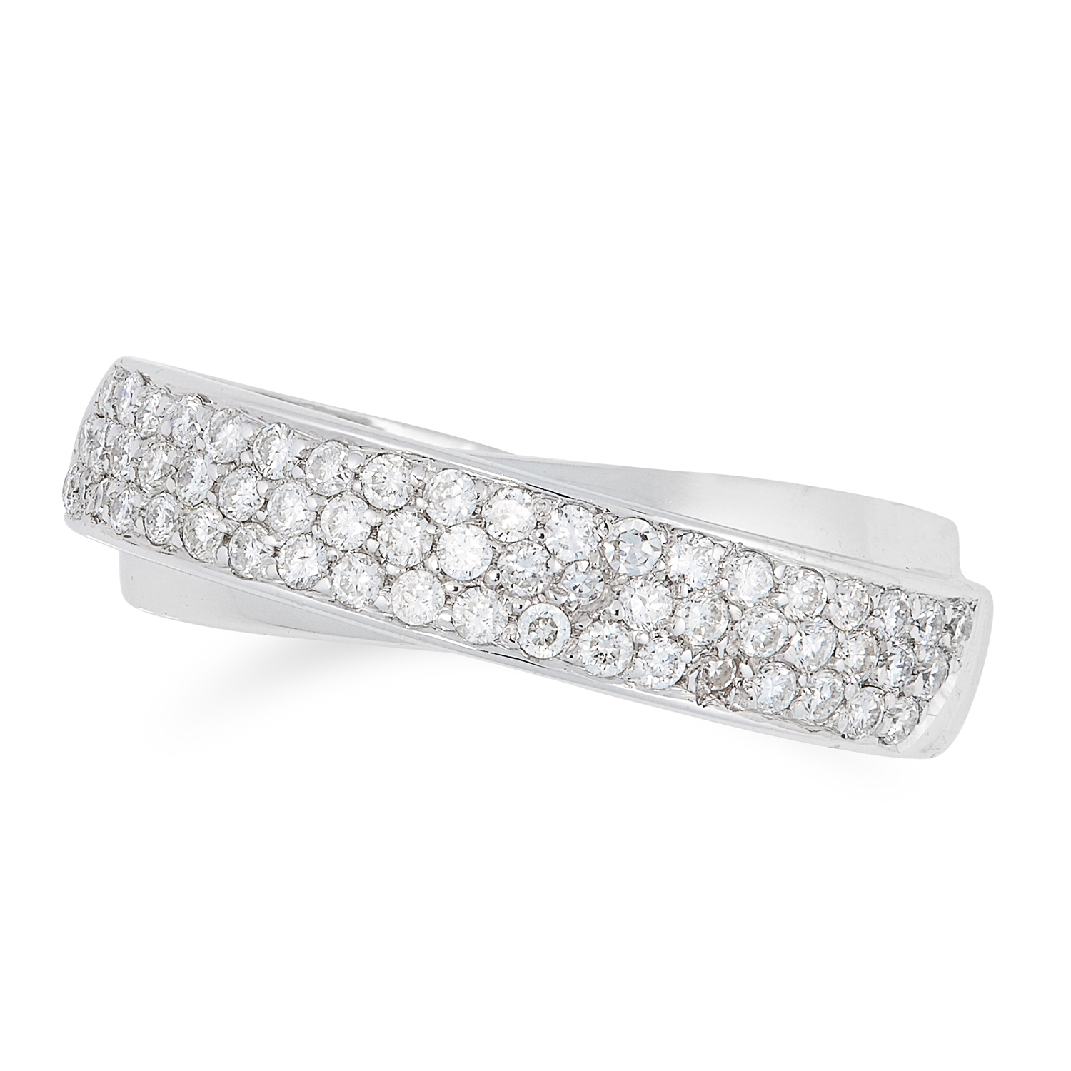 A DIAMOND CROSSOVER RING in 18ct white gold, designed as two overlapping bands, one set with round