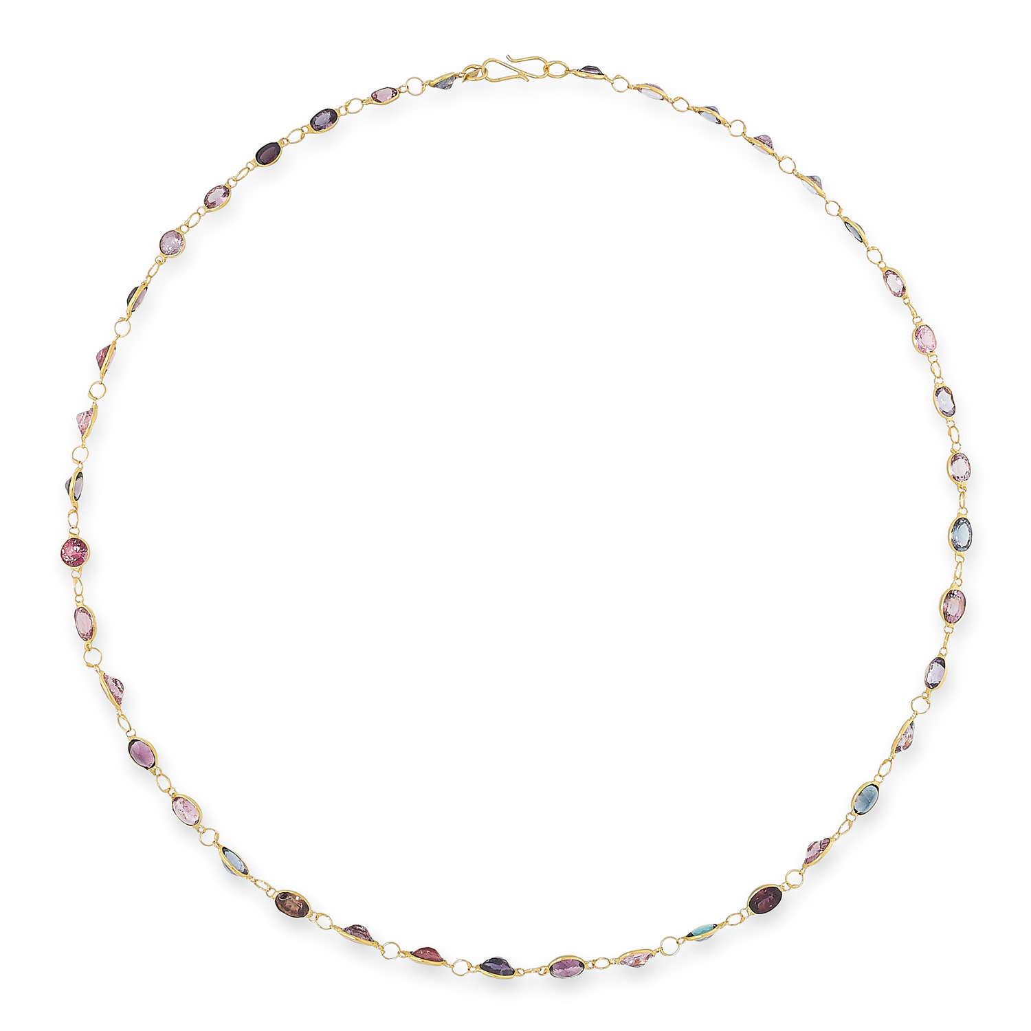 A MULTICOLOURED SPINEL NECKLACE comprising a single row of links, set with oval and round cut