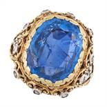 A CEYLON NO HEAT SAPPHIRE AND DIAMOND RING in 18ct yellow gold and silver, in the manner of