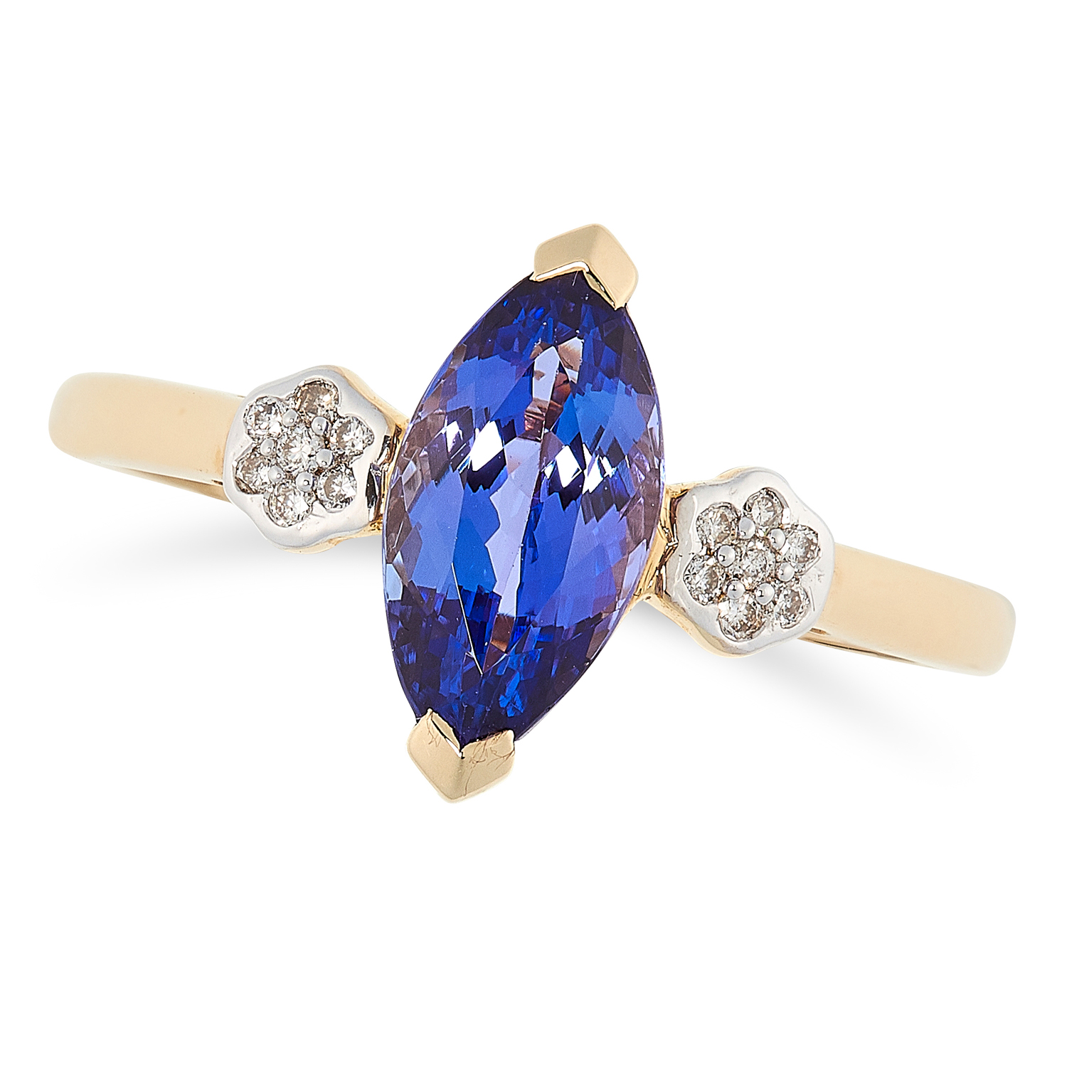 A TANZANITE AND DIAMOND RING in 14ct yellow gold, set with a marquise cut tanzanite in a border of