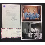 Lot 350 - NEIL ARMSTRONG & COMMANDER RICHARD GORDER, AN ORIGINAL SIGNED LETTER ON OFFICIAL NASA HEADED PAPER