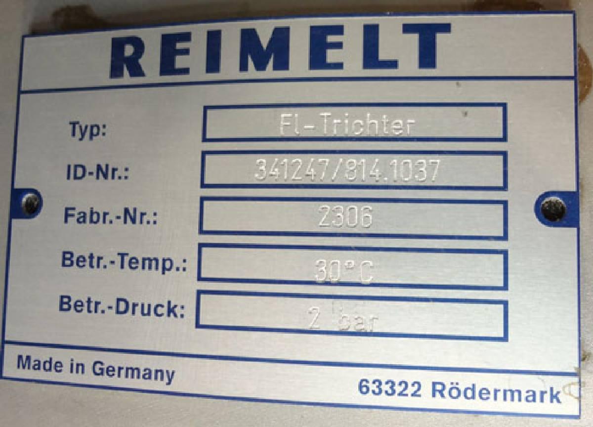 Lot 34 - Reimelt Approximate 60 Cubic Feet Hopper