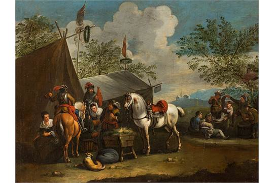 After P  Wouwerman, At The Sutler's Tent, Oil, 18th Century