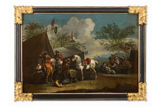 After P  Wouwerman, At The Sutler's Tent, Oil, 18th Century Oil on