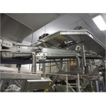 Incline conveyor, blue sanitary belt, 16 ft. long x 12 in. wide, SS frame, with drive   __This