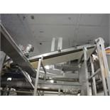 Incline cleated conveyor, sanitary bidirectional belt conveyor, 120 in. long x 25 in. wide, SS
