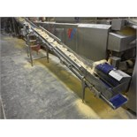 Incline conveyor, cleated belt, 139 in. long x 11 in. wide x 45 in. infeed x 45 in. discharge, SS