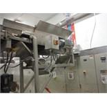 Overhead belt conveyor, plastic interlock belt, 48 in. long x 11 in. wide, SS frame, with drive