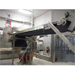 Belt conveyor with laminating conveyor, 11 ft. long x 31 in. wide 86 in. tall, SS frame, with drive