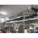 Overhead belt conveyor, blue sanitary belt, 23 ft. long x 12 in. wide, SS frame, with drive   __This