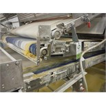 Belt conveyor, blue sanitary belt, 114 in. long x 50 in. wide, SS frame, with drive   __This item is