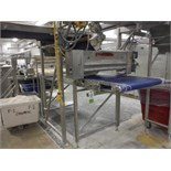 Belt conveyor, blue sanitary belt, 23 ft. long x 36 in. wide x 52 in. tall, SS frame with drive